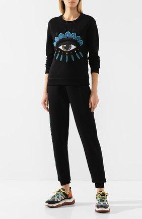 Женская хлопковый свитшот KENZO черного цвета, арт. FA52SW7104XC | Фото 2