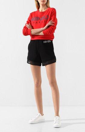 Женские хлопковые шорты KENZO черного цвета, арт. FA52PA719952   Фото 2 (Материал внешний: Хлопок; Длина Ж (юбки, платья, шорты): Мини; Статус проверки: Проверена категория; Стили: Спорт-шик; Женское Кросс-КТ: Шорты-одежда)