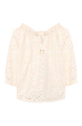 Детское хлопковая блузка ZIMMERMANN белого цвета, арт. 6416TKIR | Фото 1