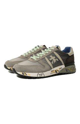 Мужские комбинированные кроссовки PREMIATA серого цвета, арт. LANDER/VAR4586 | Фото 1