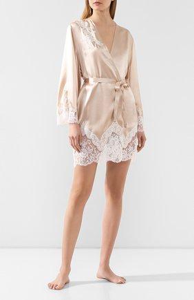 Женский шелковый халат MARJOLAINE бежевого цвета, арт. 3GEM2002_1874 | Фото 2
