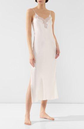 Женская шелковая сорочка LUNA DI SETA кремвого цвета, арт. VLST60515_0004 | Фото 2