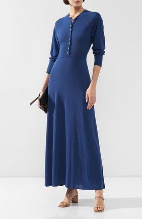 Женское платье из смеси вискозы и льна LEMAIRE синего цвета, арт. W 194 KN426 LK077 | Фото 2