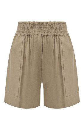 Женские шорты из смеси льна и хлопка BRUNELLO CUCINELLI хаки цвета, арт. MF591P7213 | Фото 1