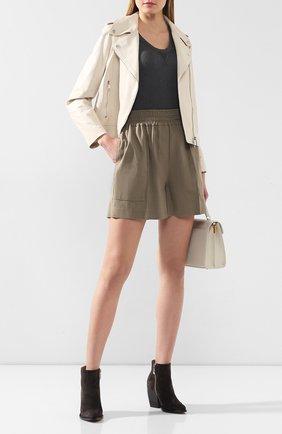 Женские шорты из смеси льна и хлопка BRUNELLO CUCINELLI хаки цвета, арт. MF591P7213 | Фото 2