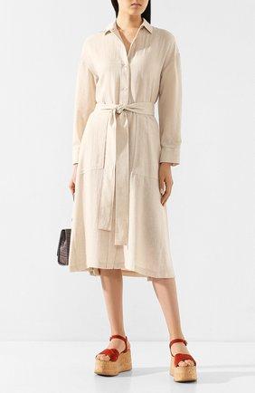 Женское платье из смеси хлопка и вискозы VINCE бежевого цвета, арт. V631251107 | Фото 2