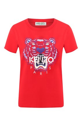 Женская хлопковая футболка KENZO красного цвета, арт. FA52TS7214YB | Фото 1