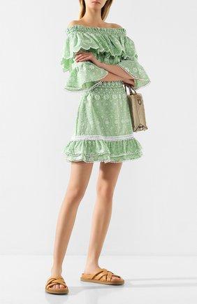 Женская хлопковая юбка CHARO RUIZ IBIZA зеленого цвета, арт. 202400   Фото 2