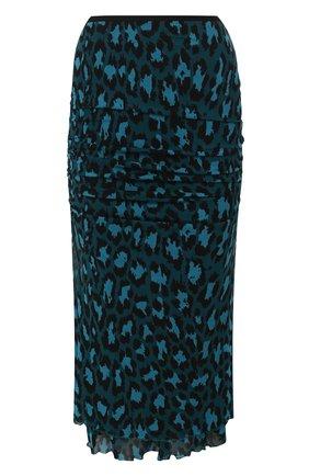 Женская юбка из вискозы DIANE VON FURSTENBERG бирюзового цвета, арт. 13662DVF   Фото 1