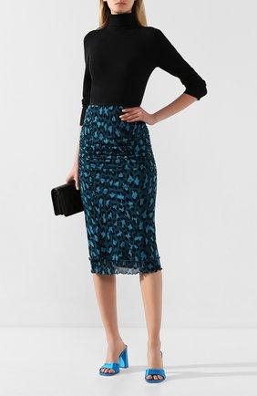 Женская юбка из вискозы DIANE VON FURSTENBERG бирюзового цвета, арт. 13662DVF   Фото 2