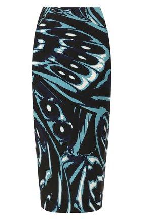 Женская юбка из смеси вискозы и шелка DIANE VON FURSTENBERG бирюзового цвета, арт. 13885DVF   Фото 1