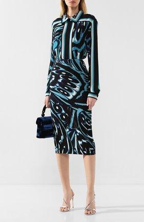 Женская юбка из смеси вискозы и шелка DIANE VON FURSTENBERG бирюзового цвета, арт. 13885DVF   Фото 2