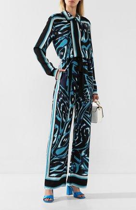 Женские брюки с принтом DIANE VON FURSTENBERG бирюзового цвета, арт. 13924DVF | Фото 2
