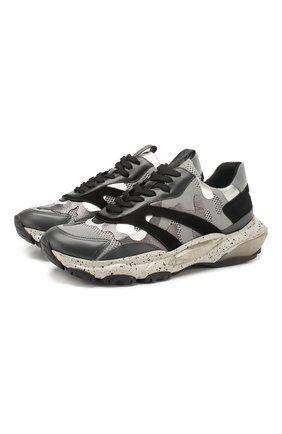 Мужские комбинированные кроссовки valentino garavani bounce VALENTINO серого цвета, арт. TY2S0B05/SJH | Фото 1