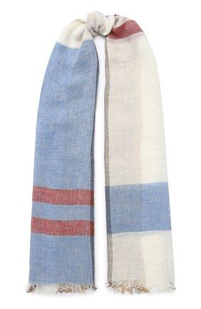 Мужской льняной шарф CORNELIANI светло-голубого цвета, арт. 85B229-0129018/00 | Фото 1
