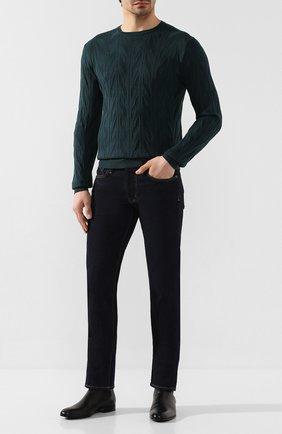 Мужской джемпер из смеси шелка и хлопка CORNELIANI зеленого цвета, арт. 85M568-0125190/00 | Фото 2