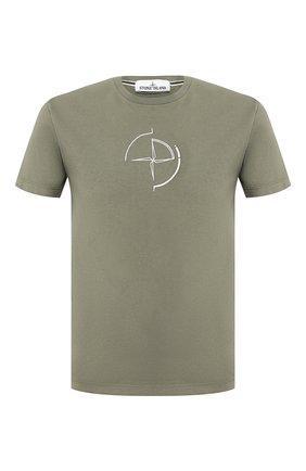 Мужская хлопковая футболка STONE ISLAND хаки цвета, арт. 72152NS89 | Фото 1