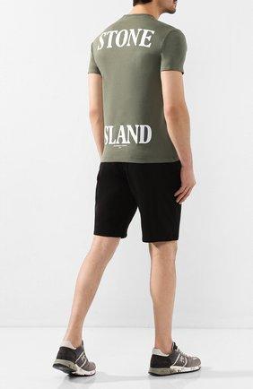 Мужская хлопковая футболка STONE ISLAND хаки цвета, арт. 72152NS89 | Фото 2