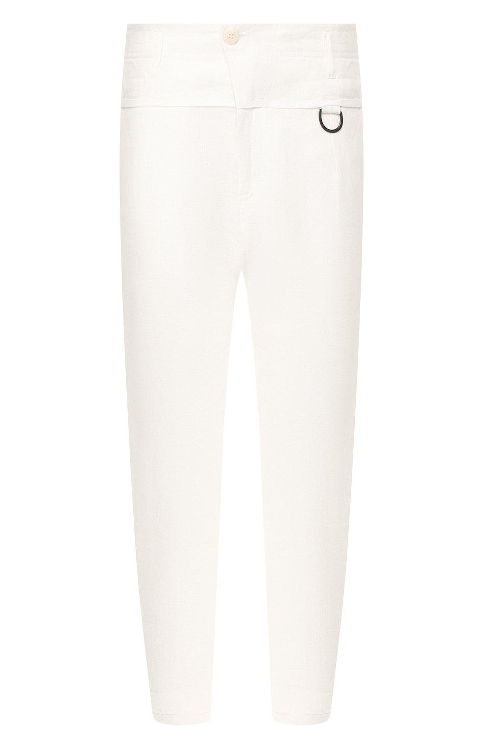 Мужские льняные брюки ISABEL BENENATO белого цвета, арт. UW43S20 | Фото 1
