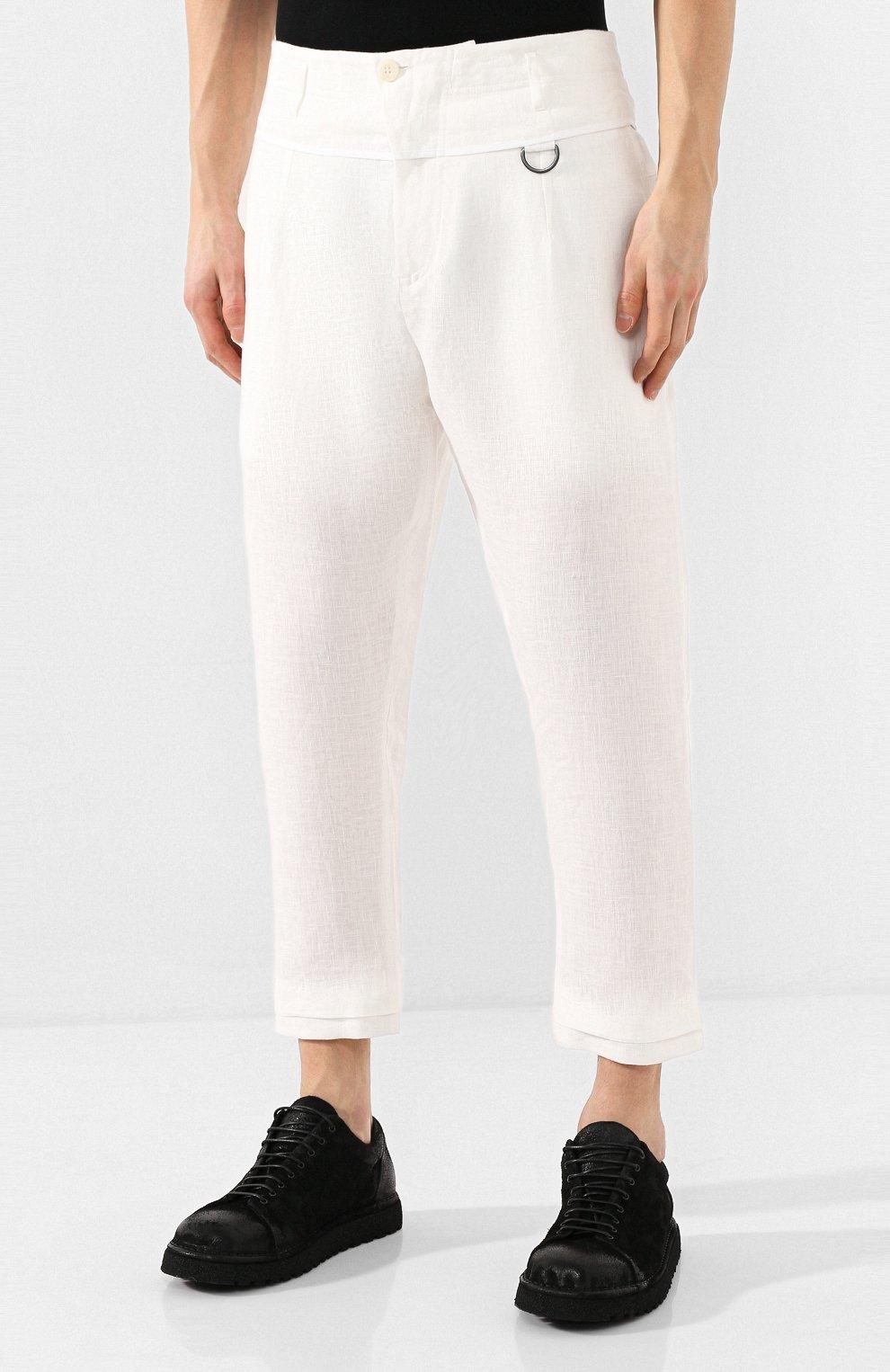 Мужские льняные брюки ISABEL BENENATO белого цвета, арт. UW43S20 | Фото 3