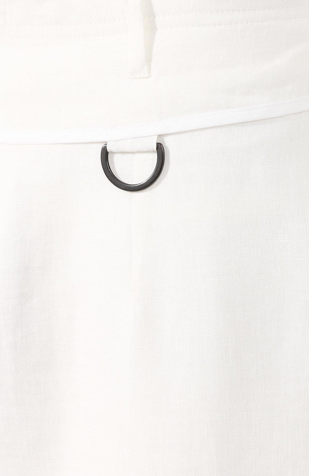 Мужские льняные брюки ISABEL BENENATO белого цвета, арт. UW43S20 | Фото 5