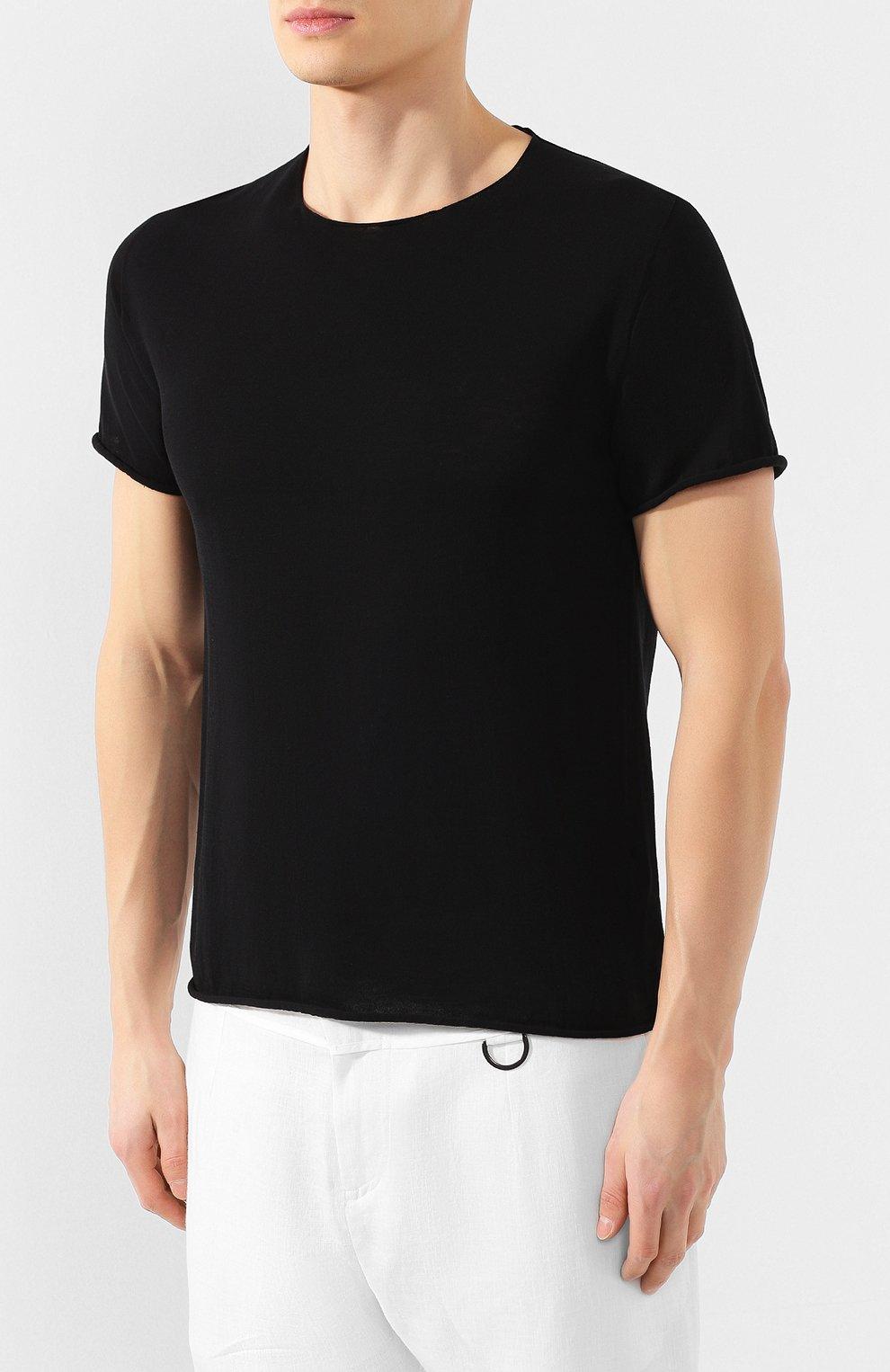 Мужская хлопковая футболка ISABEL BENENATO черного цвета, арт. UK03PS20 | Фото 3