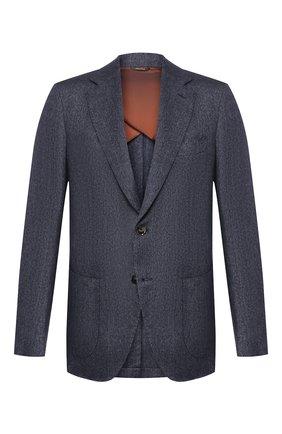 Мужской пиджак из смеси кашемира и льна LORO PIANA темно-синего цвета, арт. FAL0440 | Фото 1