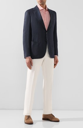 Мужской пиджак из смеси кашемира и льна LORO PIANA темно-синего цвета, арт. FAL0440 | Фото 2
