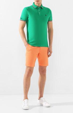 Мужское хлопковое поло POLO RALPH LAUREN зеленого цвета, арт. 710792813 | Фото 2