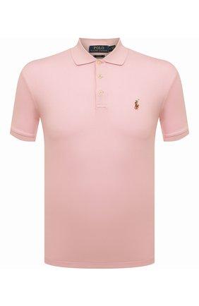 Мужское хлопковое поло POLO RALPH LAUREN светло-розового цвета, арт. 710652578 | Фото 1