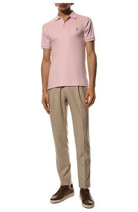 Мужское хлопковое поло POLO RALPH LAUREN светло-розового цвета, арт. 710652578 | Фото 2