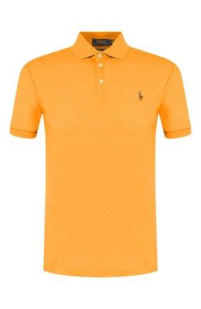 Мужское хлопковое поло POLO RALPH LAUREN оранжевого цвета, арт. 710652578 | Фото 1