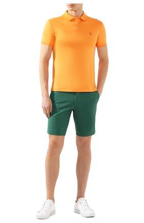 Мужское хлопковое поло POLO RALPH LAUREN оранжевого цвета, арт. 710652578 | Фото 2