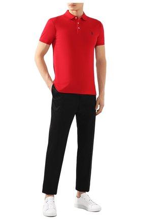 Мужское хлопковое поло  POLO RALPH LAUREN красного цвета, арт. 710541705   Фото 2