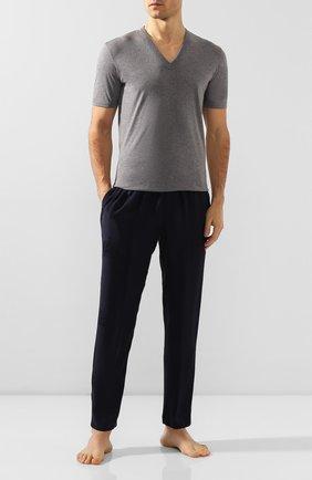 Мужские шелковые домашние брюки DOLCE & GABBANA темно-синего цвета, арт. GYB0HT/FJ1HL | Фото 2