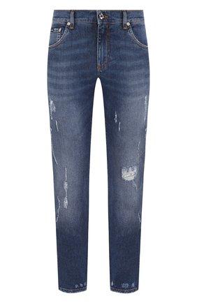 Мужские джинсы DOLCE & GABBANA темно-синего цвета, арт. GY07LZ/G8BE2   Фото 1