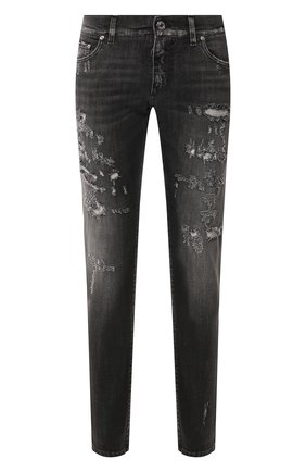 Мужские джинсы DOLCE & GABBANA темно-серого цвета, арт. GY07CD/G8BR5 | Фото 1 (Материал внешний: Хлопок; Длина (брюки, джинсы): Стандартные; Силуэт М (брюки): Узкие)