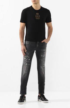 Мужские джинсы DOLCE & GABBANA темно-серого цвета, арт. GY07CD/G8BR5 | Фото 2 (Материал внешний: Хлопок; Длина (брюки, джинсы): Стандартные; Силуэт М (брюки): Узкие)