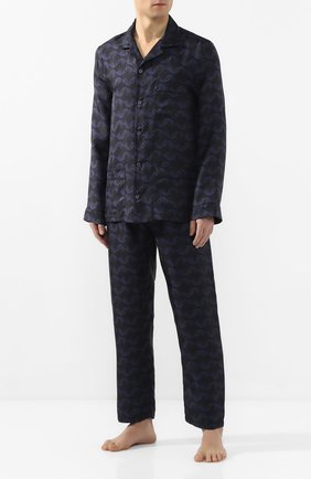 Мужская шелковая пижама ERMENEGILDO ZEGNA синего цвета, арт. N6H000980 | Фото 1