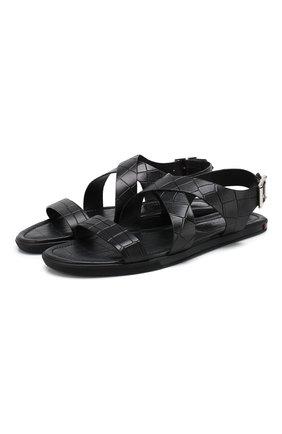 Мужские кожаные сандалии DOUCAL'S черного цвета, арт. DU2418MALIUF073NN00 | Фото 1