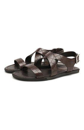 Мужские кожаные сандалии DOUCAL'S темно-коричневого цвета, арт. DU2418MALIUF073NM00 | Фото 1