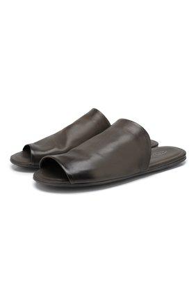 Мужские кожаные шлепанцы MARSELL темно-серого цвета, арт. MM3050/PELLE VITELL0 | Фото 1