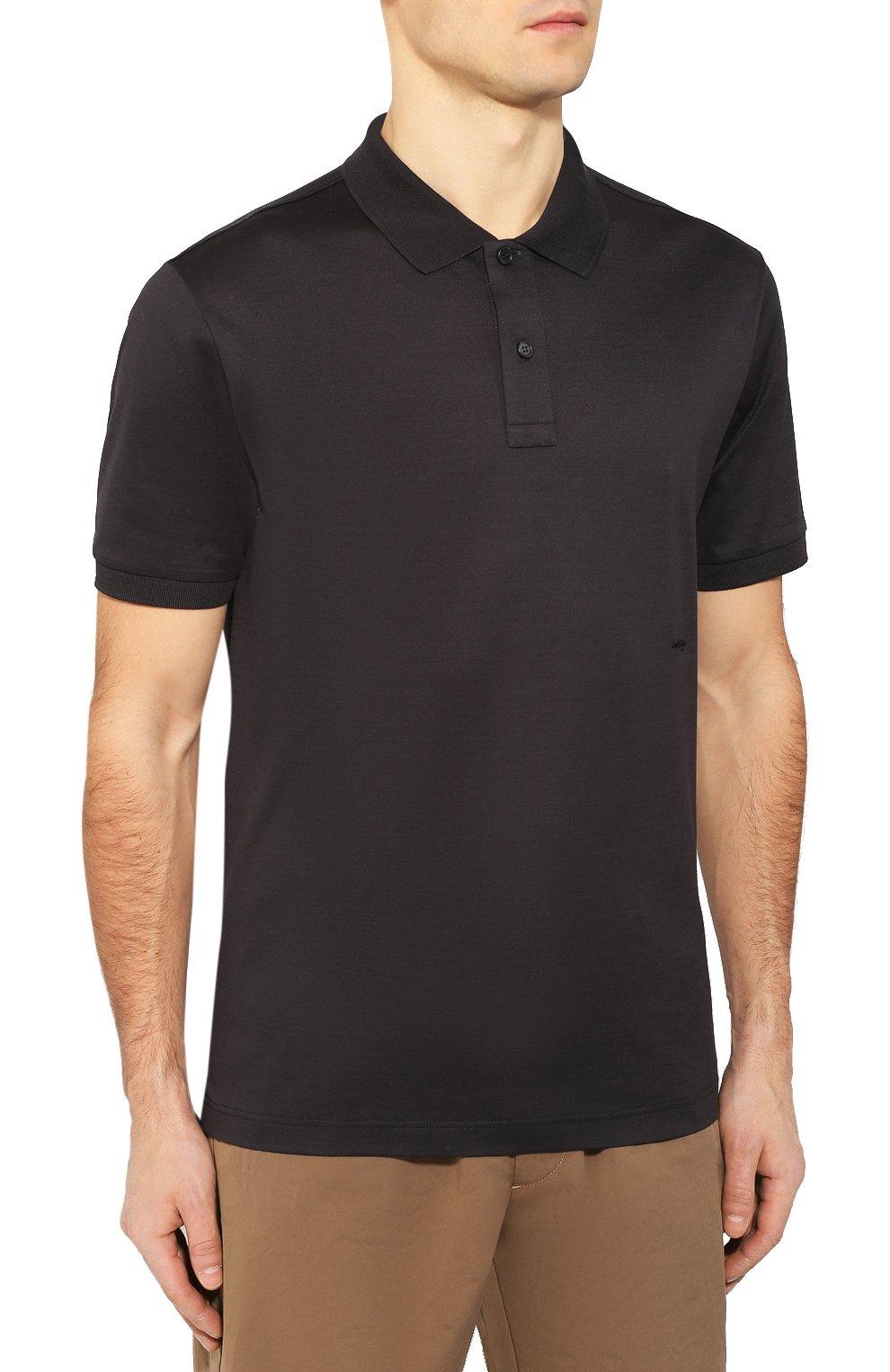 Мужское хлопковое поло BOTTEGA VENETA темно-серого цвета, арт. 599677/VK090   Фото 3