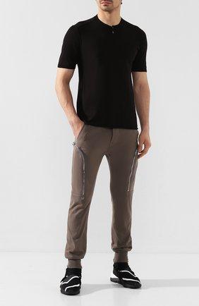 Мужская хлопковая футболка TRANSIT черного цвета, арт. CFUTRK7421   Фото 2