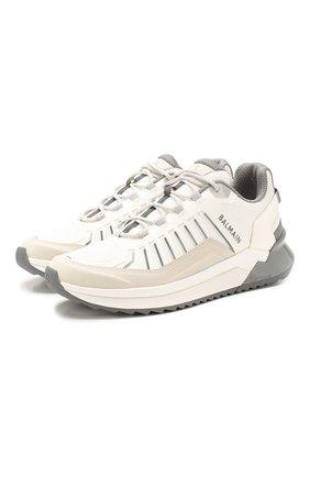 Мужские комбинированные кроссовки BALMAIN белого цвета, арт. TM1C212/LMNR | Фото 1
