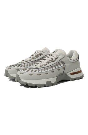 Мужские комбинированные кроссовки claudio ZEGNA COUTURE светло-серого цвета, арт. A4256X-LHSSP | Фото 1