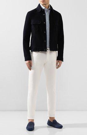Мужские кожаные мокасины ALDO BRUE синего цвета, арт. AB0010G-NS   Фото 2