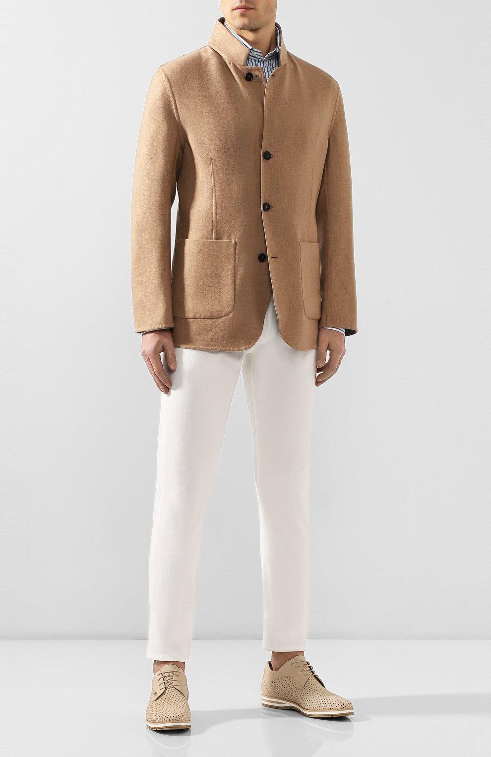 Мужские кожаные дерби ZILLI бежевого цвета, арт. MDR-T047/007 | Фото 2