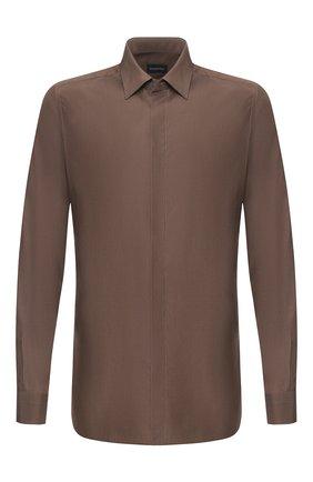 Мужская рубашка из смеси шелка и хлопка ERMENEGILDO ZEGNA коричневого цвета, арт. 701404/9YC0CA | Фото 1