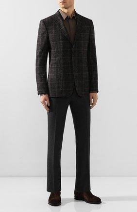 Мужская рубашка из смеси шелка и хлопка ERMENEGILDO ZEGNA коричневого цвета, арт. 701404/9YC0CA | Фото 2